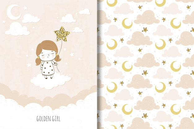 Golden girl card and seamless pattern for kids Premium Vector