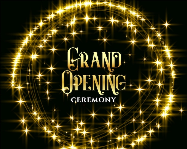 Golden glitering sparkles grand opening invitation Free Vector