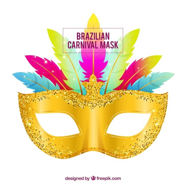 Golden/glitter brazilian carnival mask Free Vector