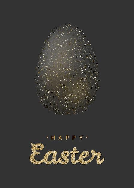 Golden glitter easter egg with lettering Premium Vector