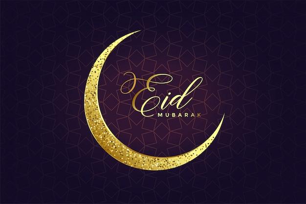Golden glitter eid moon design Free Vector