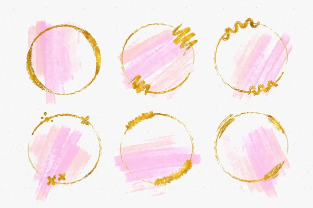 Golden glitter frame collection with watercolor brush strokes Free Vector