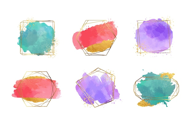 Golden glitter frame collection with watercolour brush strokes Free Vector