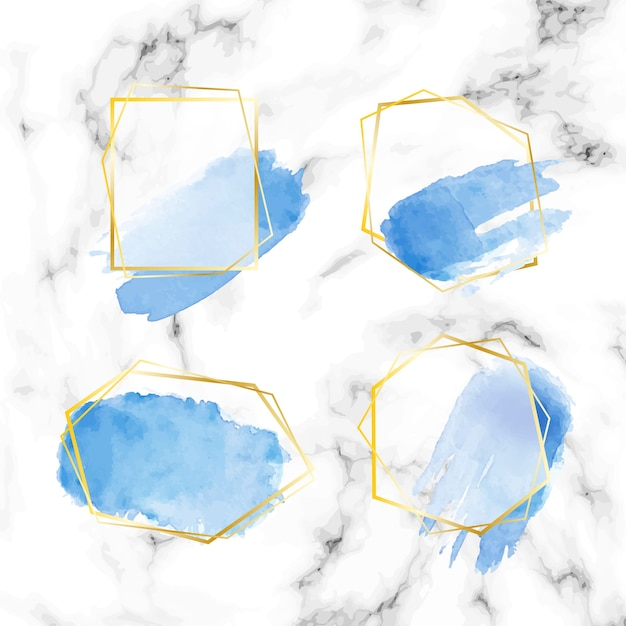 Golden glitter frame set with watercolor brush strokes Free Vector
