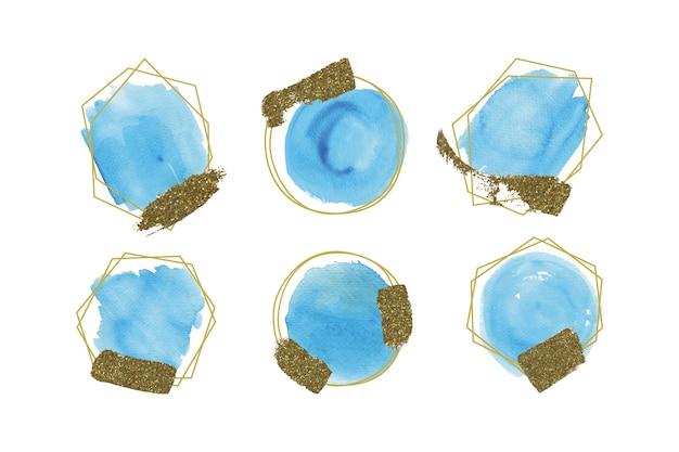 Set di cornici glitter dorate Vettore gratuito
