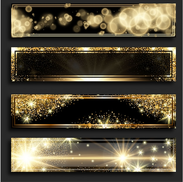 Golden glitter horizontal banners Free Vector