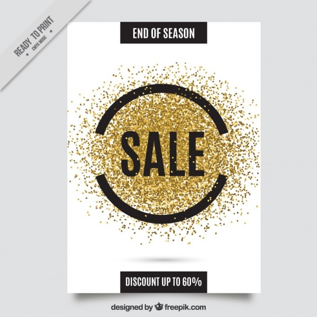 Golden Glitter Sale Flyer Vector Free Download