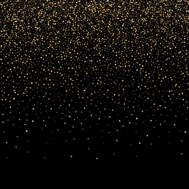 Golden glitter sparkle bubbles champagne particles stars on blac Premium Vector
