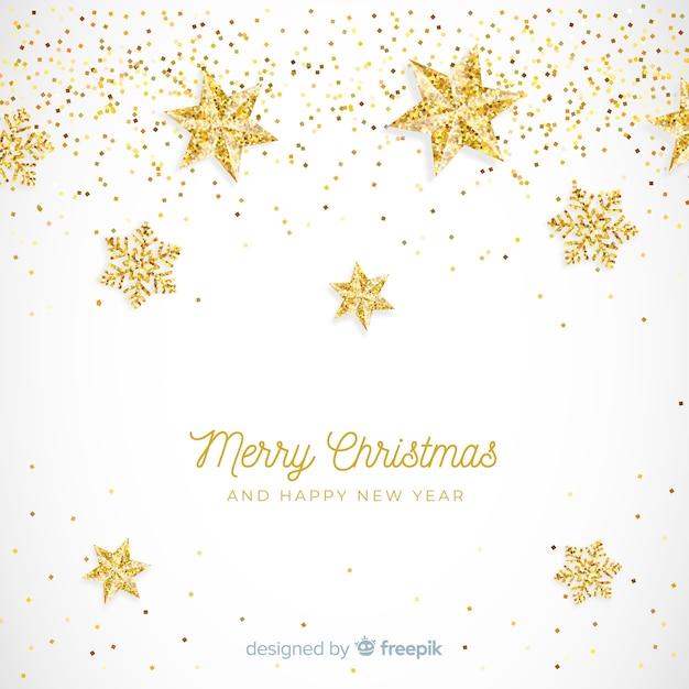 Golden glitter stars christmas background Free Vector