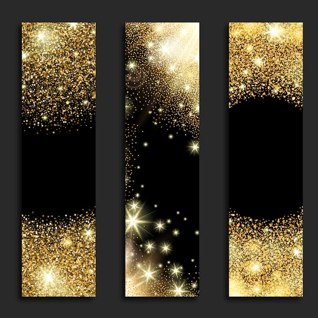 Golden glitter vertical banners Free Vector