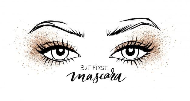 Красивые глаза с длинными черными ресницами и тени для век golden glitter. Premium векторы