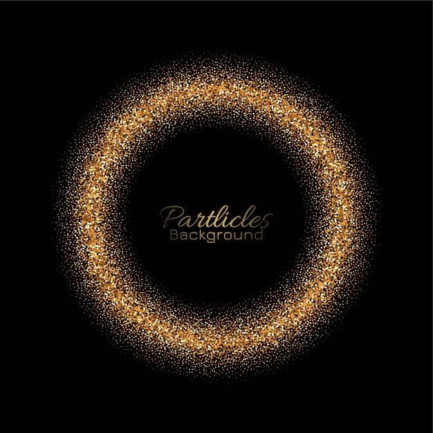 Golden glitters circle card Free Vector
