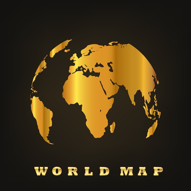 Golden globe earth. vector illustration Premium Vector