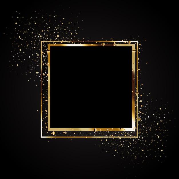 Golden glow banner design Premium Vector