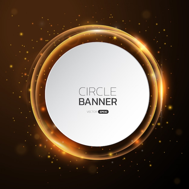 Golden glow round frame with text space. Premium Vector