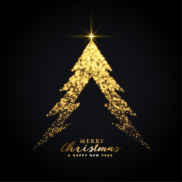 Golden glowing merry christmas tree background Free Vector