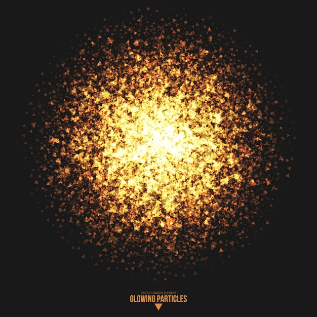 Golden glowing triangle particles vector background Premium Vector