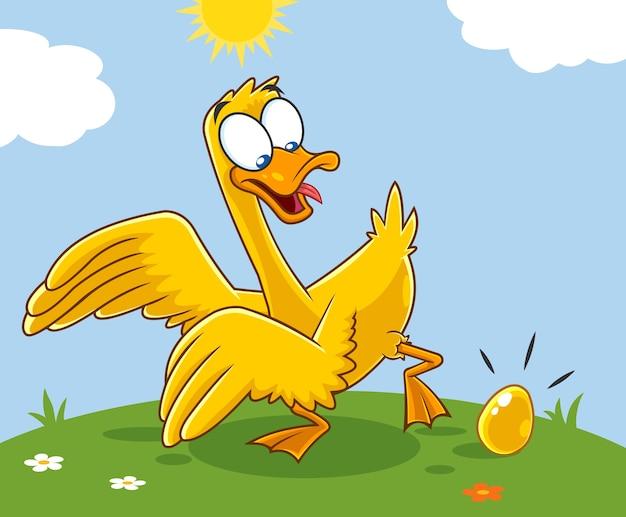 Золотой гусь мультипликационный персонаж с золотым яйцом Premium векторы