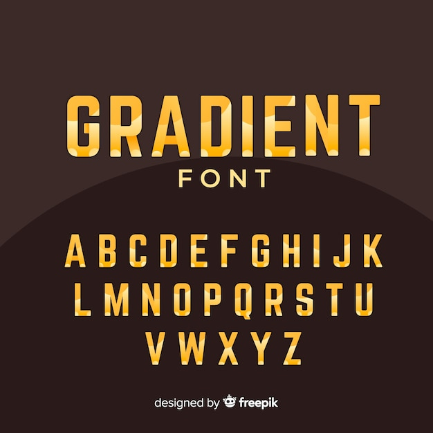 Golden gradient alphabet template Free Vector