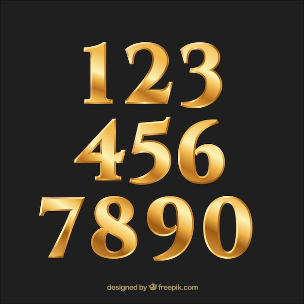 Golden gradient number collection Free Vector