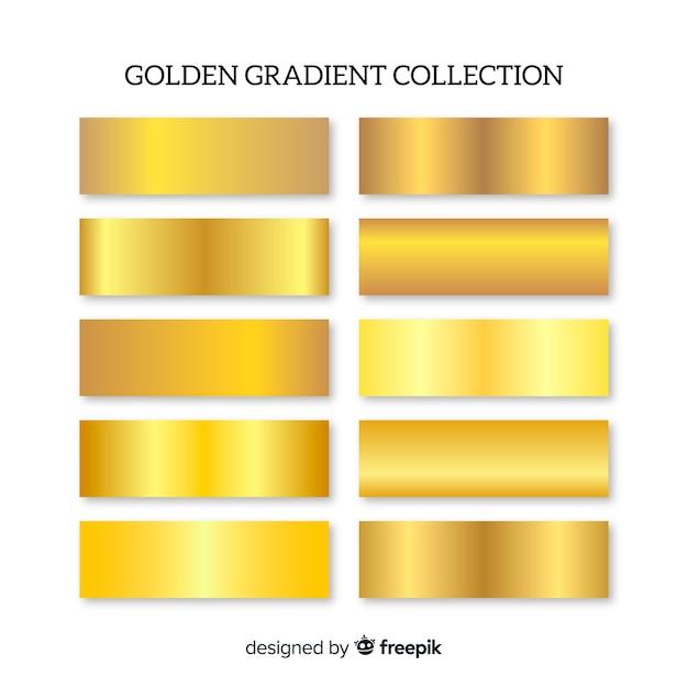 Golden gradient pack Free Vector