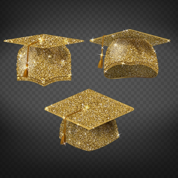 Golden graduation cap, shining symbol of education in university or college. Free Vector