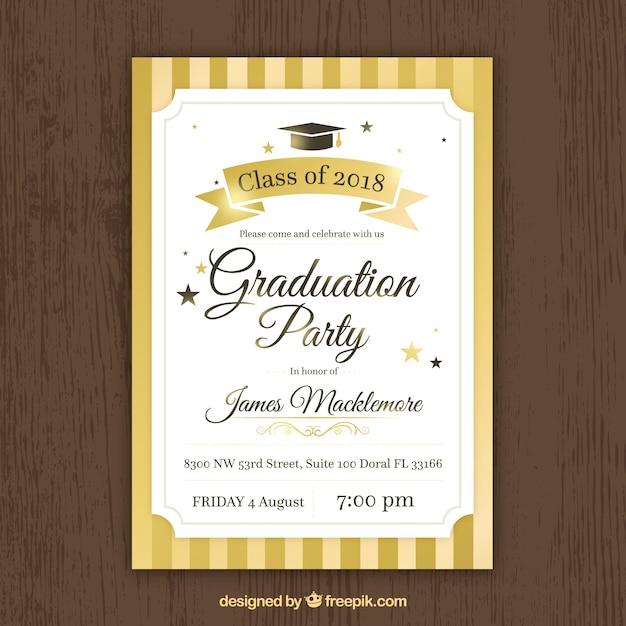 Golden graduation party invitation Free Vector