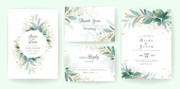 Golden greenery wedding invitation template set with leaves, glitter, frame, and border. Premium Vector