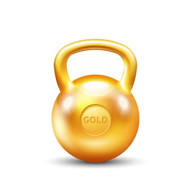 Golden gym kettlebell on white background Free Vector