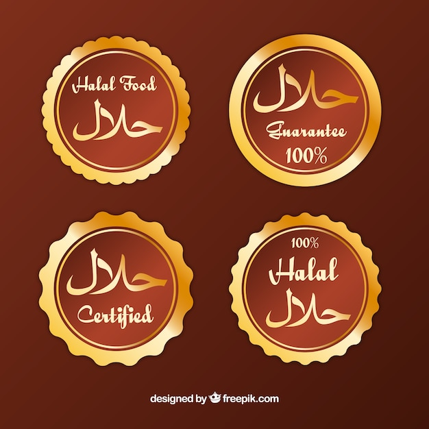 Golden halal label collection with flat design Free Vector