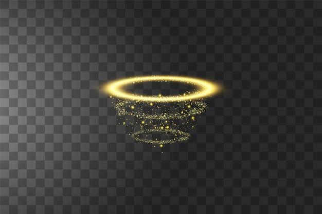 Золотое кольцо с ангелочком. изолированные на черном прозрачном Premium векторы