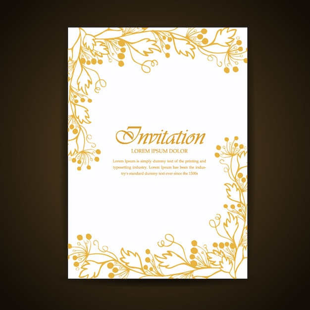 Golden hand drawn floral and leaves invitation card vector free golden hand drawn floral and leaves invitation card free vector stopboris Gallery
