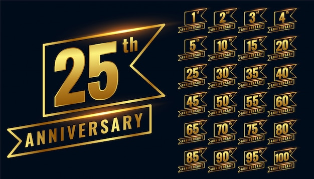 Golden happy anniversary premium badge logotype set Free Vector
