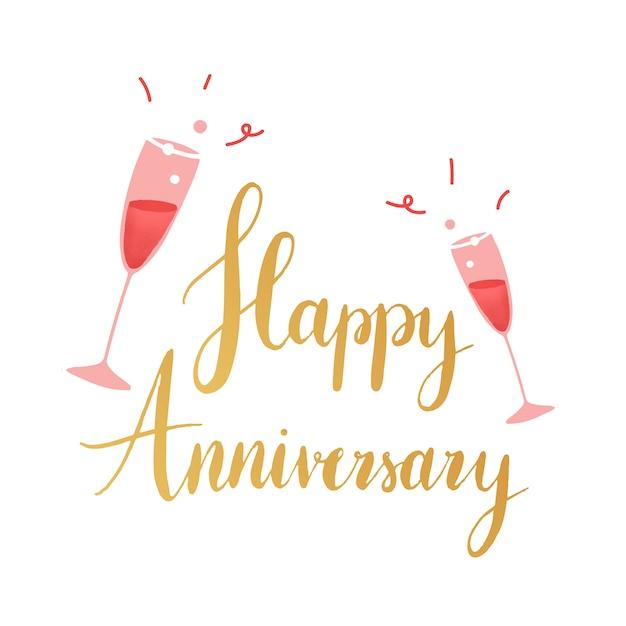 Golden happy anniversary typography vector Free Vector
