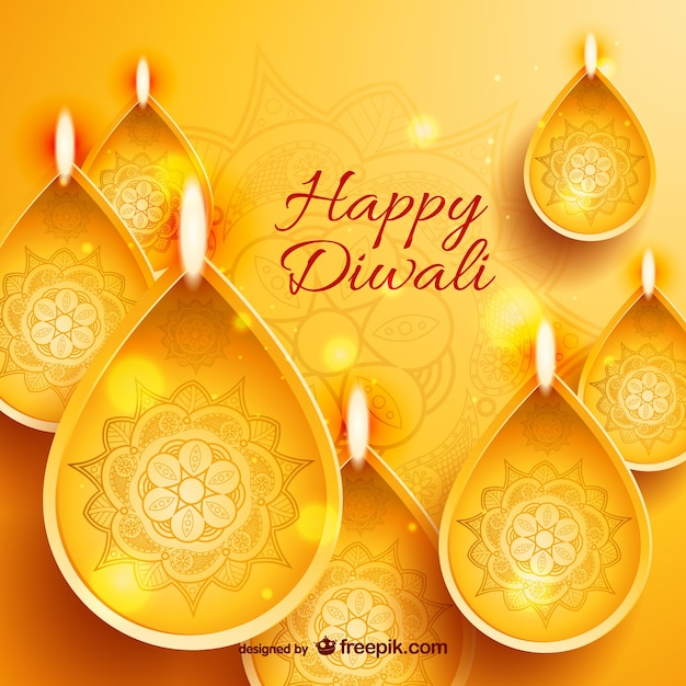 Golden Happy Diwali card Free Vector