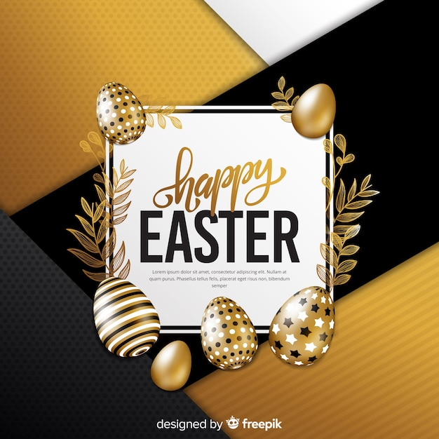 Golden happy easter day background Free Vector