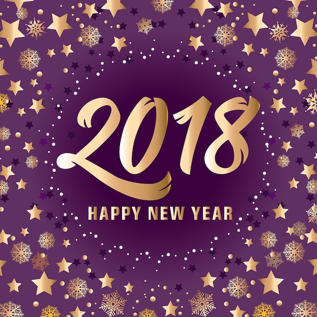 golden happy new year 2018 lettering free vector