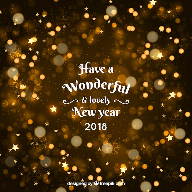 Golden Happy New Year 2018 With Bokeh Free Vector