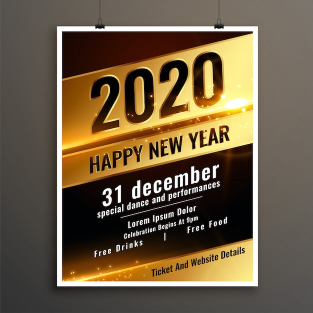 Golden happy new year 2020 celebration flyer or poster template Free Vector