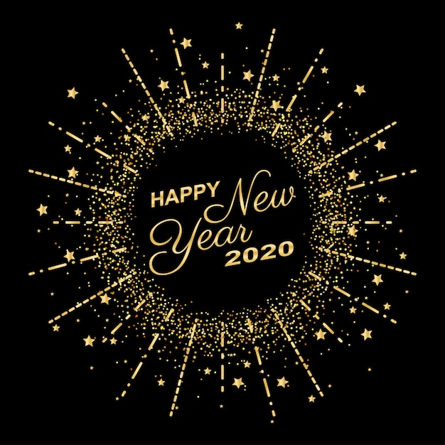 Golden happy new year 2020 in circle ring fireworks with burst glitter on black color background Premium Vector