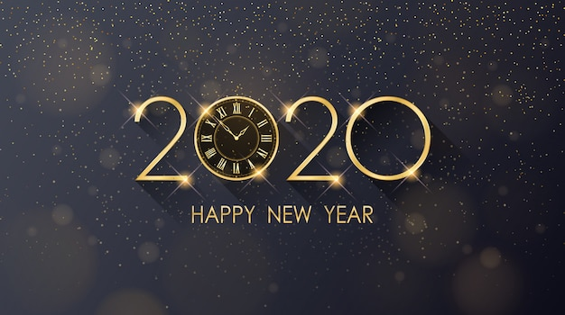 Golden happy new year 2020 and clock with glitter on black color background Premium Vector