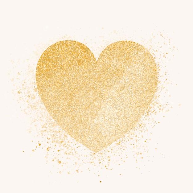 Golden heart badge Free Vector