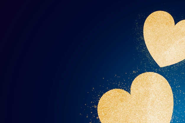 Golden heart banner Free Vector