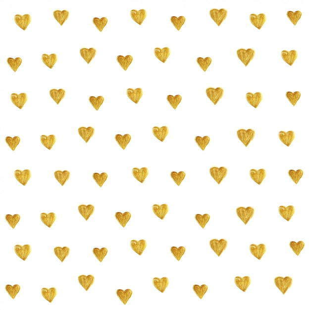 Golden heart glitter pattern seamless. Premium Vector