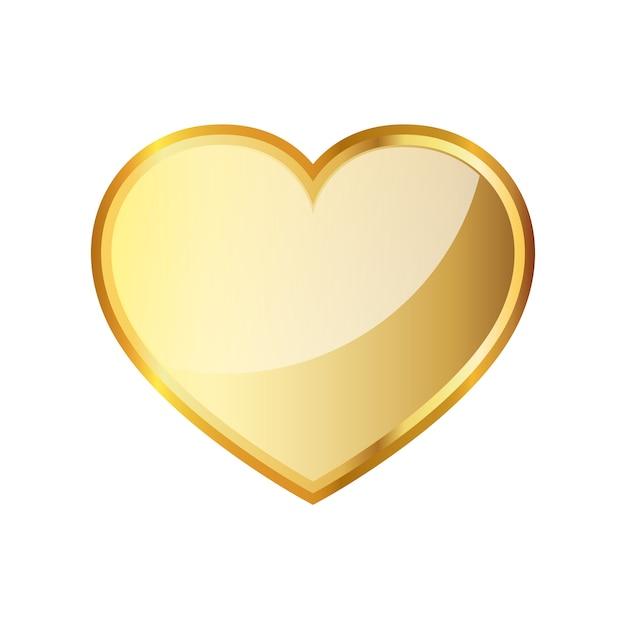 Золотое сердце значок. векторная иллюстрация. Premium векторы