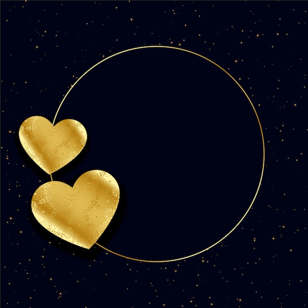 Golden hearts frame with text space background Free Vector