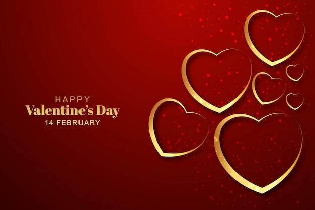Golden hearts valentines day background Free Vector