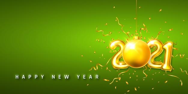 ゴールデンヘリウム気球番号と紙吹雪とクリスマスボール Premiumベクター