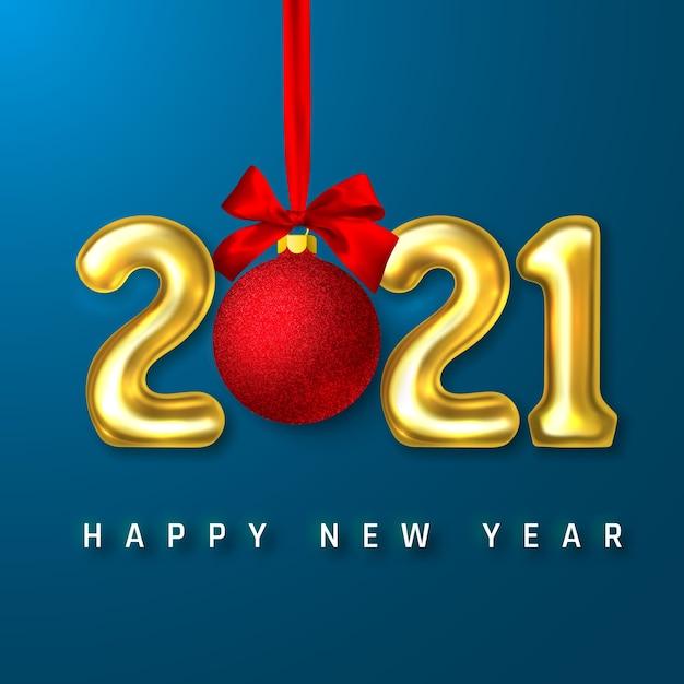 黄金のヘリウム気球番号と赤い弓のクリスマスボール Premiumベクター