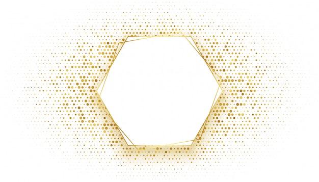 Golden hexagonal frame with glitter background Free Vector